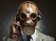 Vintage gas mask and headphones
