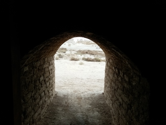 The view from a room -- entry to a stairwell? -- in the outer wall of the ancient ruined city of Qocho.