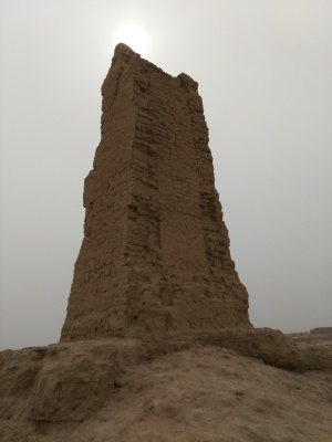 A ruined pagoda in the ruined city of Qocho in the afternoon on a cloudy day.