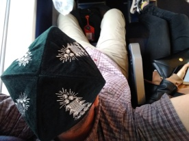 Another angle on the hat. On the train from Turpan to Urumqi.