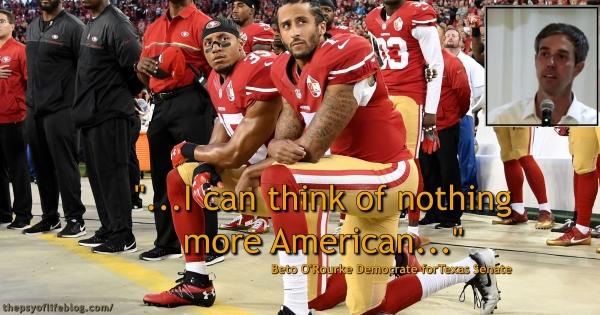 Beto O'Rourke, Democrat, Senate candidate, Texas, Colin Kaepernick, protests, police brutality, Black Lives Matter