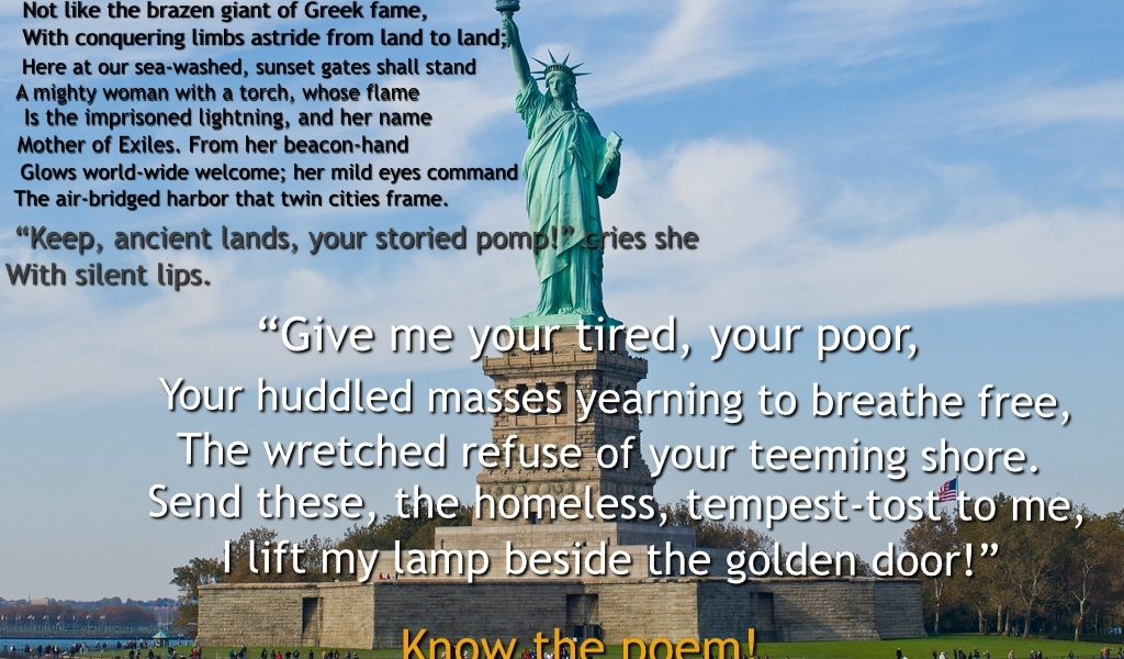 Emma Lazarus, The New Colossus, Ken Cuccinelli, immigration